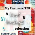 A collection of book covers ranging from: His Only Wife, When No-One is Watching You, The Mermaid of Black Conch and a few more. The Words 'My Electronic TBR: A Weird and Wonderful selection sits ontop of a white box
